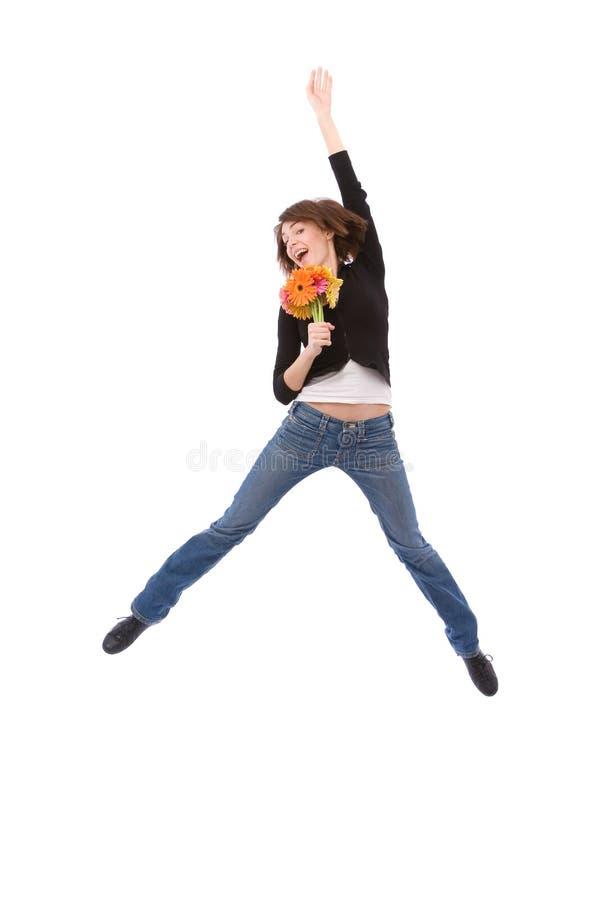 Feliz com flores imagem de stock royalty free