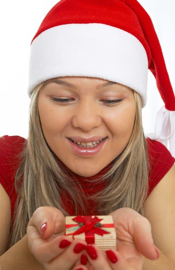 feliz com presente de Natal fotos de stock
