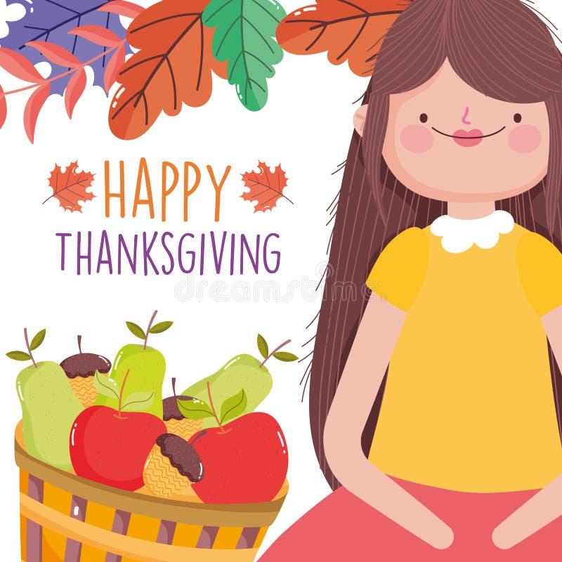 Feliz comemoração de Ação de Graças com frutas cheias de cesto e decoração de folhas ilustração do vetor