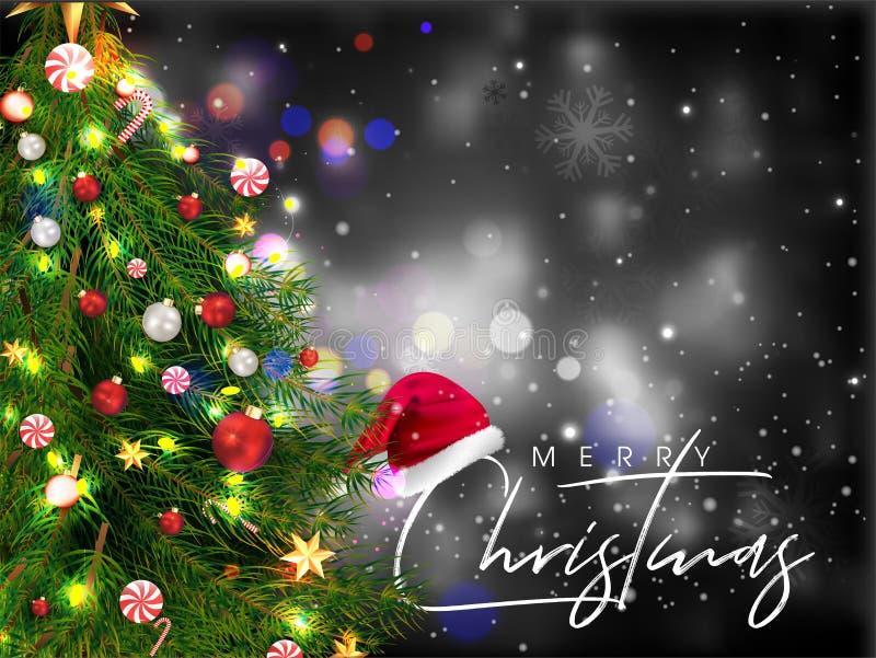 Feliz Conceito de Celebração de Natal com Árvore de Natal Decorativa e Santa Chapéu em Black Bokeh fotos de stock