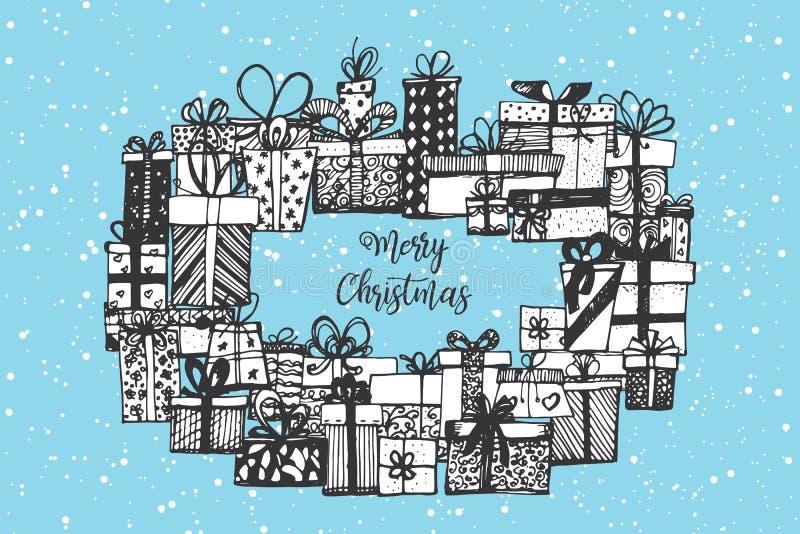 Feliz Cristmas Regalos dibujados mano de la Navidad libre illustration