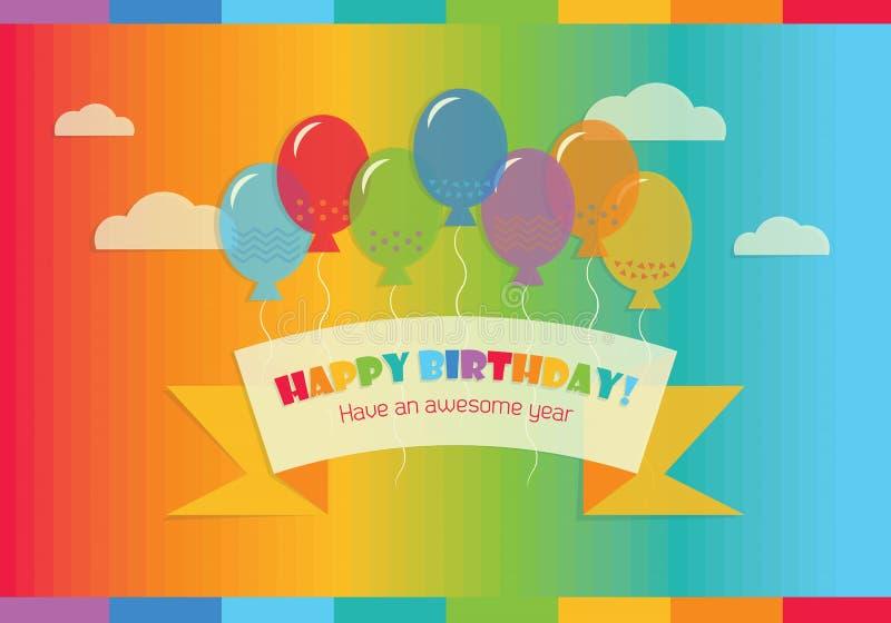¡Feliz cumpleaños abstracto! mensaje en el cielo stock de ilustración