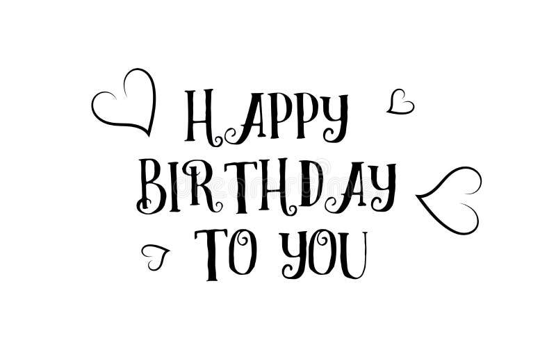 feliz cumpleaños ame el desig del cartel de la tarjeta de felicitación del logotipo de la cita stock de ilustración
