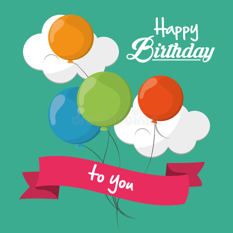 Feliz cumpleaños carde la cinta de la nube de los globos y el fondo verde ilustración del vector