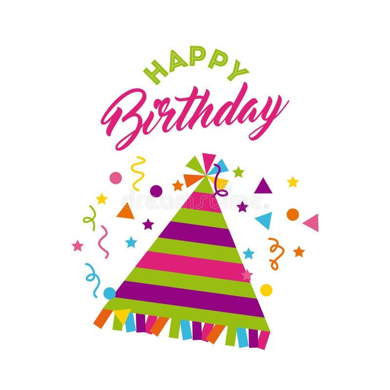 Feliz cumpleaños cartel de la celebración ilustración del vector