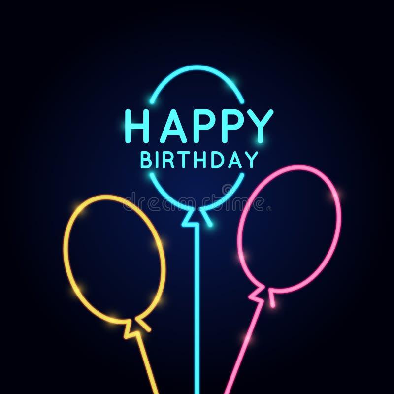Feliz cumpleaños, cartel linear minimalistic en el estilo de neón stock de ilustración