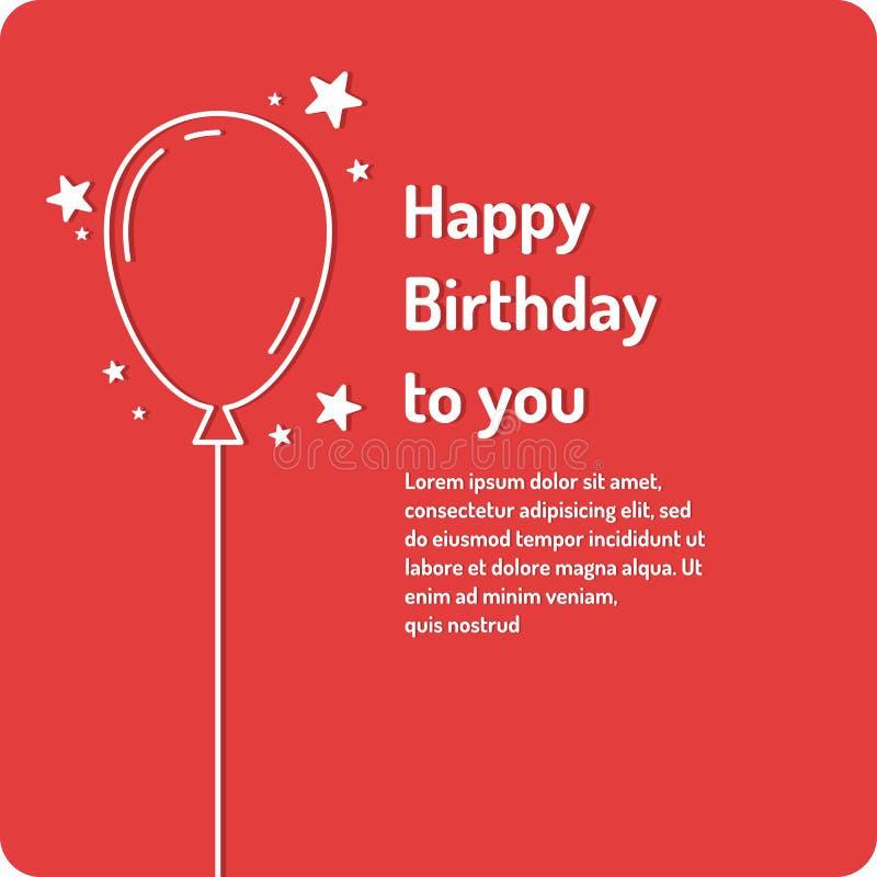 Feliz cumpleaños, cartel linear minimalistic en fondo brillante stock de ilustración