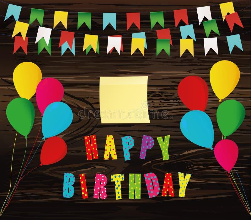 Feliz cumpleaños colorido Guirnalda del arco iris de banderas Letras y b libre illustration