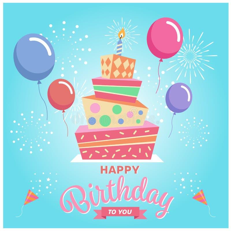 Feliz cumpleaños con la torta, el globo y el fuego artificial cuadrados en fondo del cielo azul ilustración del vector