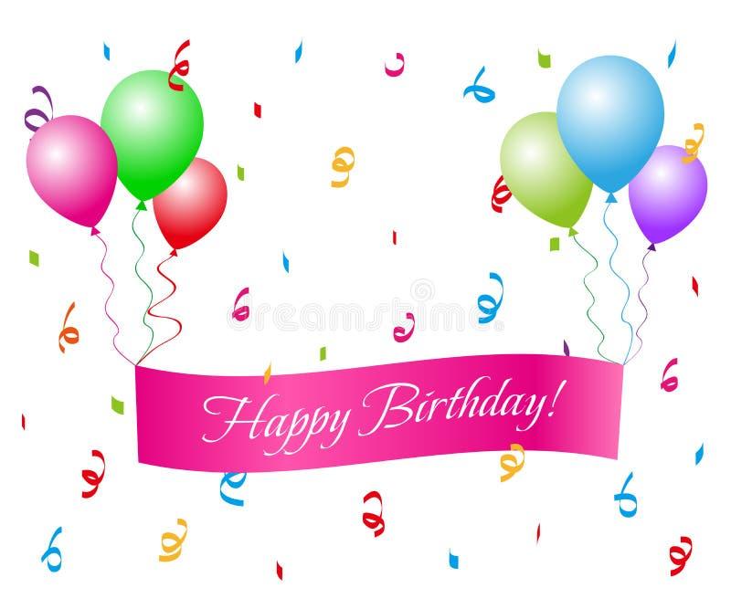 Feliz cumpleaños con los globos stock de ilustración