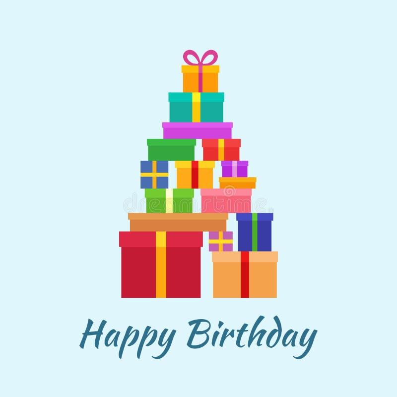 Feliz cumpleaños con los regalos ilustración del vector