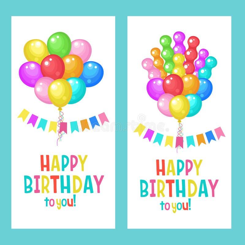 Feliz cumpleaños Conjunto de tarjetas de felicitación Globos multicolores libre illustration