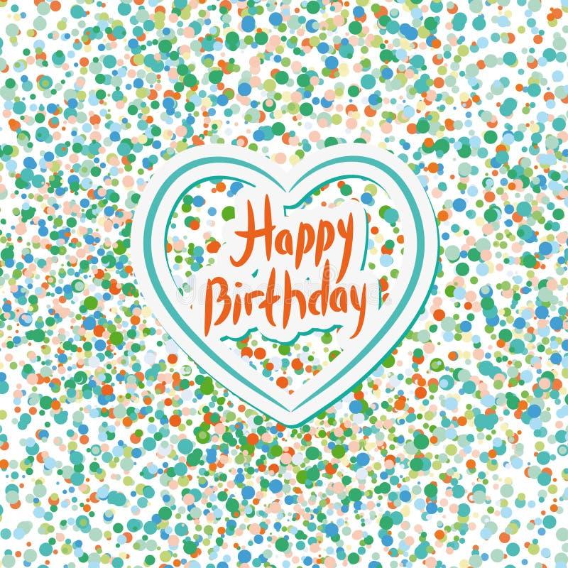 Feliz cumpleaños Corazón Confeti coloreado en un fondo blanco B libre illustration