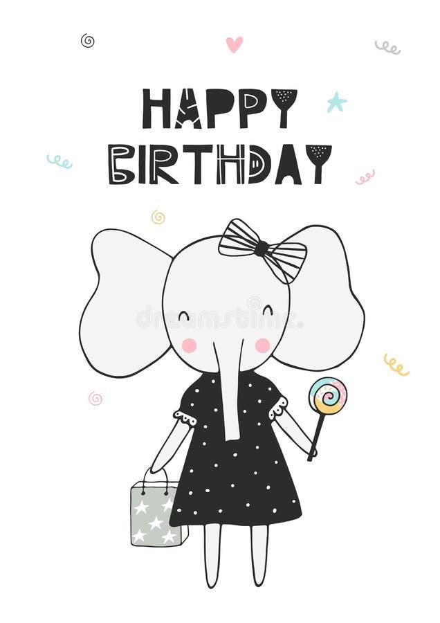 Feliz cumpleaños - dé el cartel exhausto del cumpleaños del cuarto de niños con el pequeño elefante y corte las letras en estilo  ilustración del vector