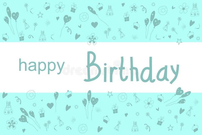Feliz cumpleaños de la postal stock de ilustración