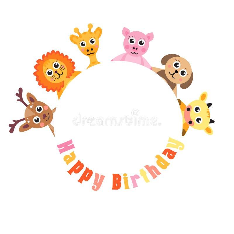 Feliz cumpleaños de la postal, animales lindos Espacio en blanco para los animales del bebé del texto, ejemplo del vector stock de ilustración