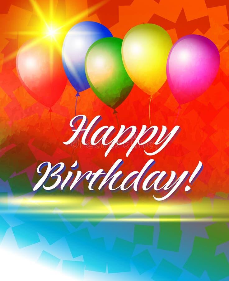 Feliz cumpleaños de la postal Globos en un fondo brillante fotos de archivo libres de regalías