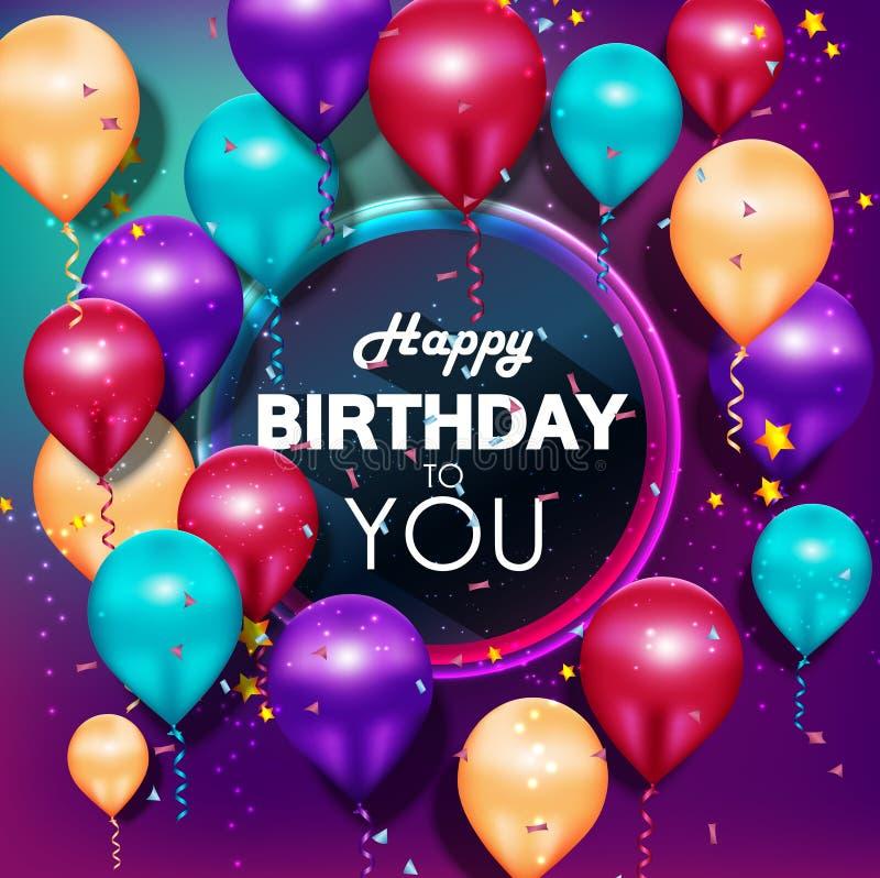 Feliz cumpleaños de los globos coloridos en fondo púrpura ilustración del vector