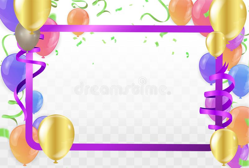 Feliz cumpleaños de los globos coloridos en fondo Vector imagen de archivo