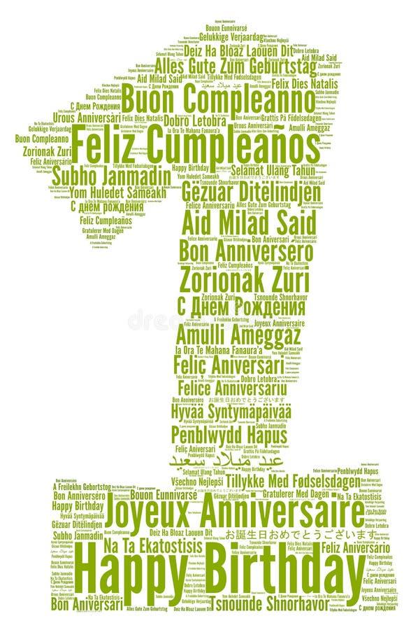 Feliz cumpleaños de un año en otros idiomas libre illustration