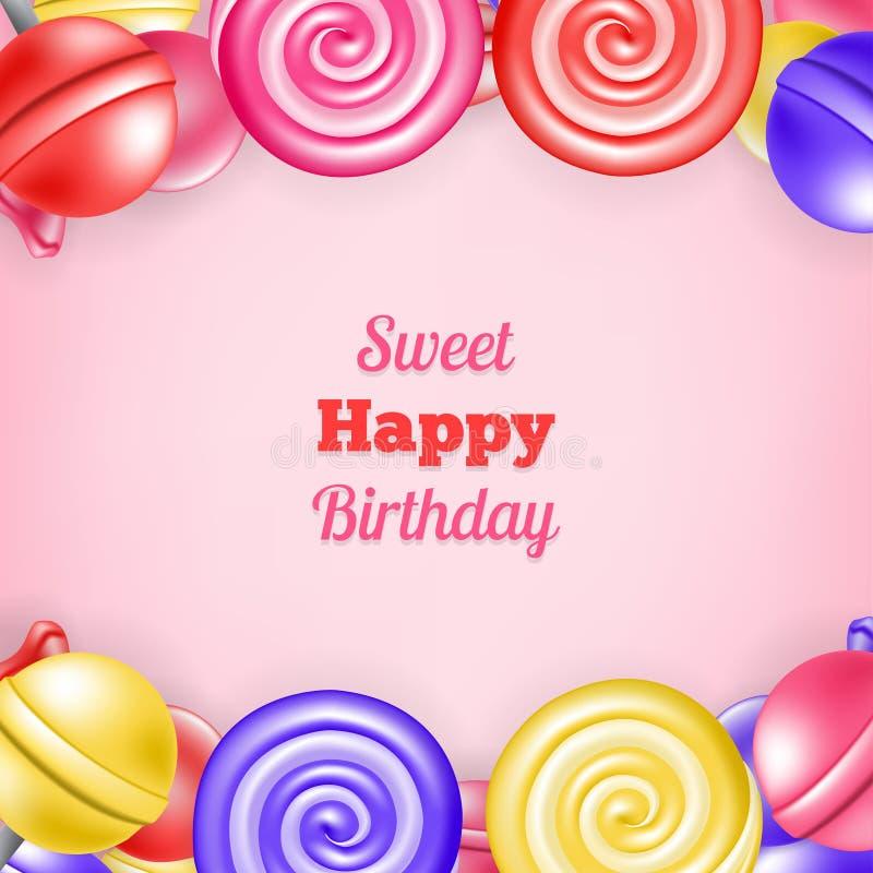 Feliz cumpleaños del fondo dulce ilustración del vector