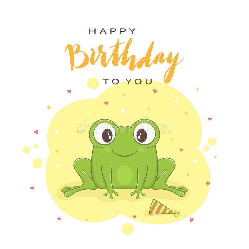 Feliz cumpleaños del texto y rana verde en fondo azul ilustración del vector