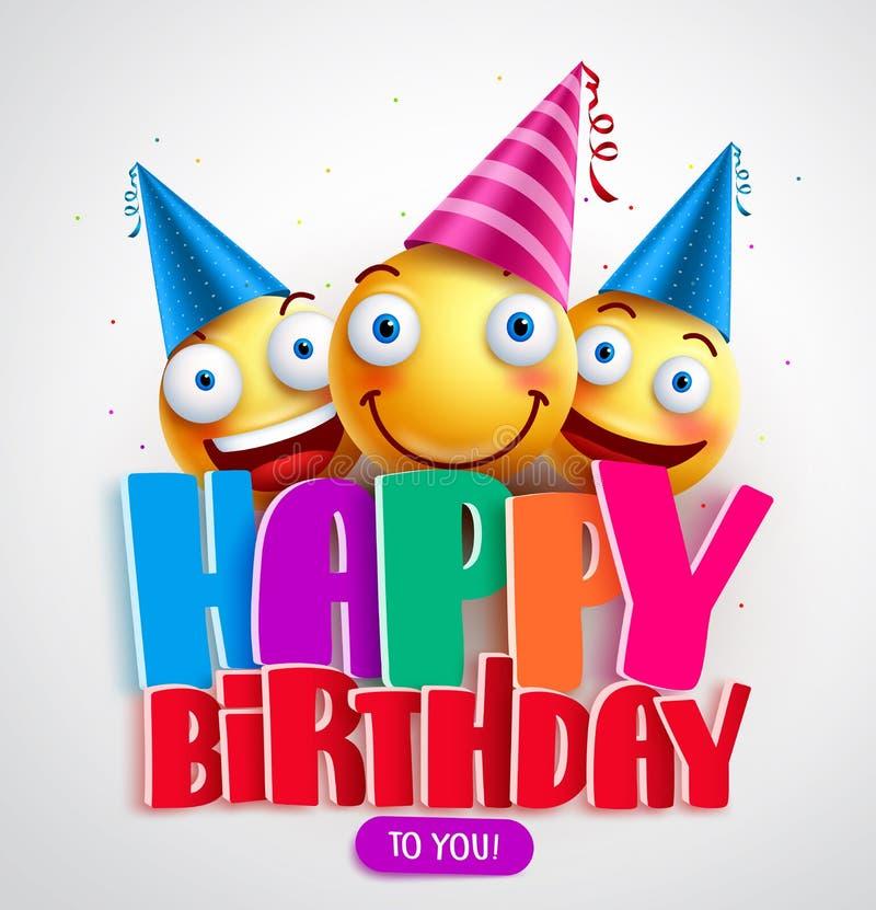 Feliz cumpleaños diseño de la bandera del vector con los smiley divertidos que llevan el sombrero del cumpleaños stock de ilustración