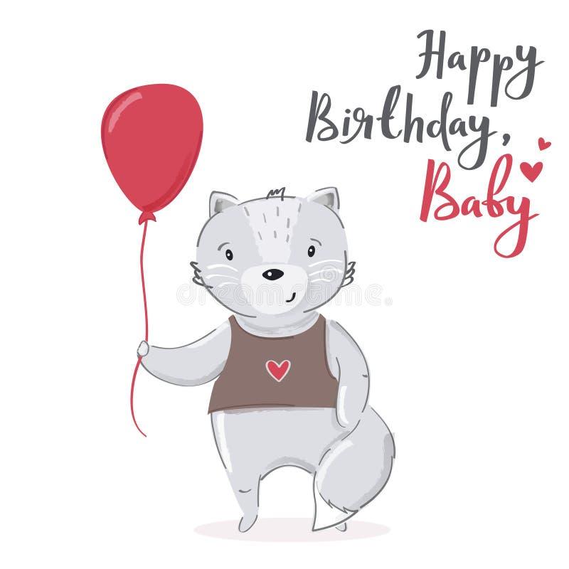 Feliz cumpleaños, diseño de tarjeta de la historieta del bebé Carácter gris lindo del gato con el ejemplo rojo del vector del glo libre illustration