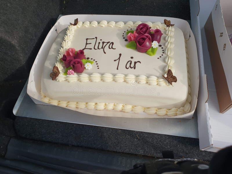 Feliz cumpleaños Elina 1 år fotos de archivo libres de regalías