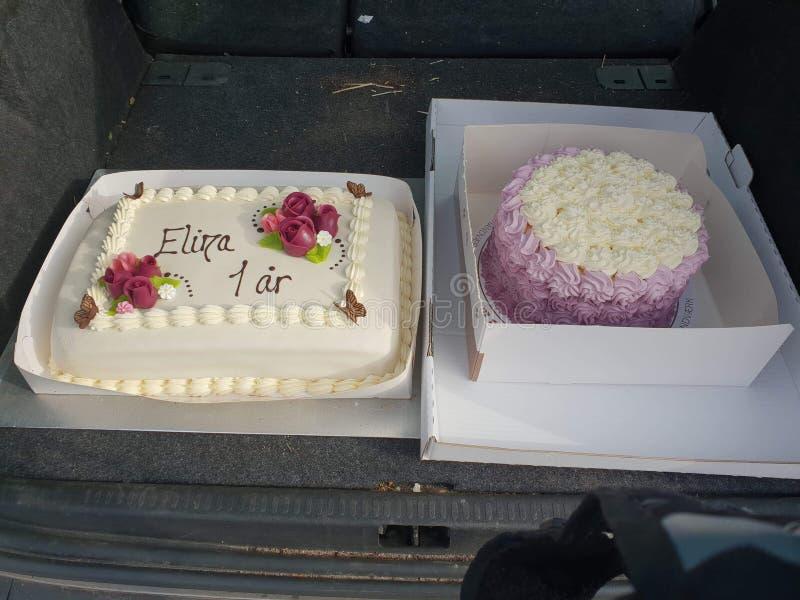 Feliz cumpleaños Elina 1 år fotos de archivo