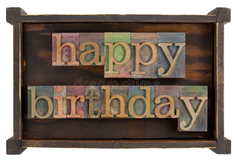 Feliz cumpleaños en tipo de la prensa de copiar imágenes de archivo libres de regalías