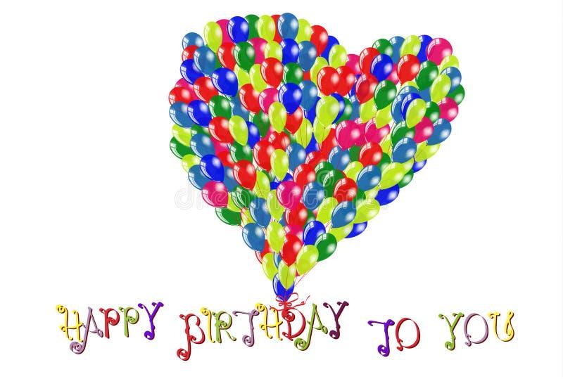 Feliz cumpleaños fondo blanco con los globos de la forma del corazón imagenes de archivo