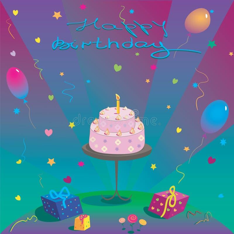 Feliz cumpleaños Impulsos y estrellas de la torta de los regalos stock de ilustración