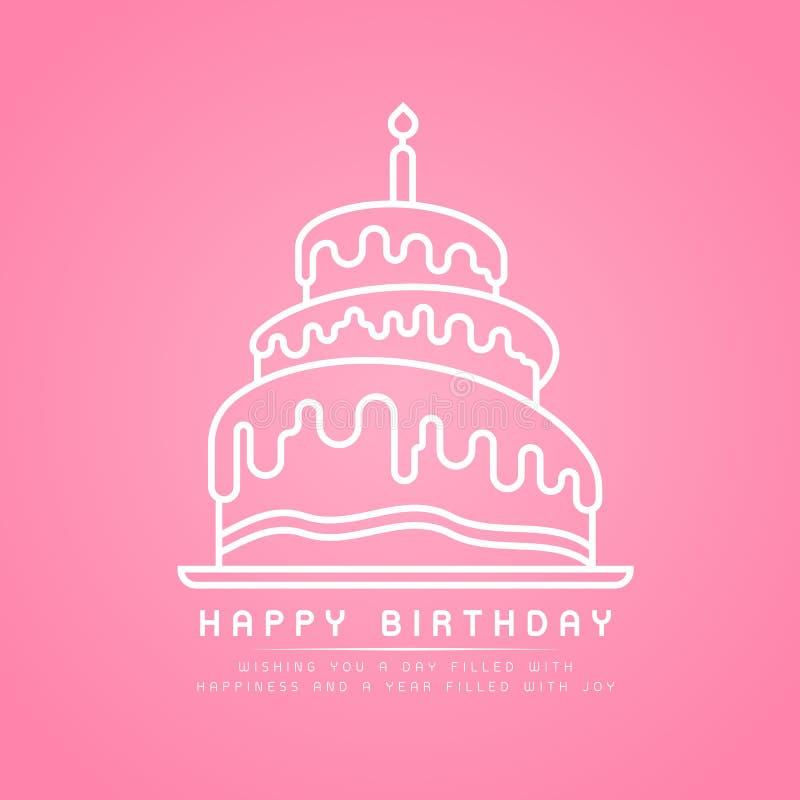 Feliz cumpleaños - la línea blanca torta de cumpleaños de la frontera con las velas ardientes firma en diseño rosado del vector d ilustración del vector