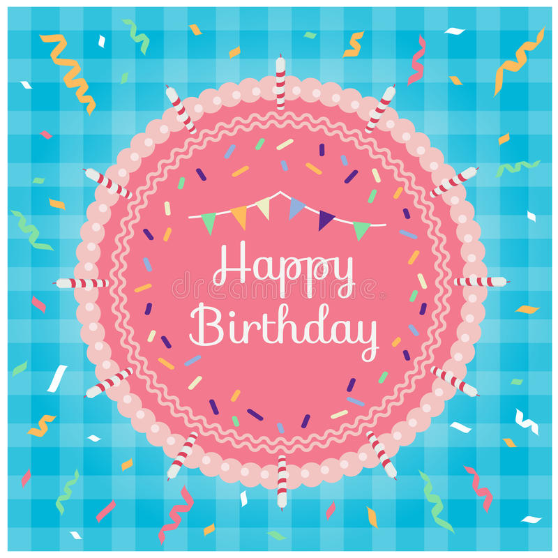 Feliz cumpleaños - la torta del rosa de la visión superior y el partido de la cinta en vector azul del fondo de la tela diseñan ilustración del vector
