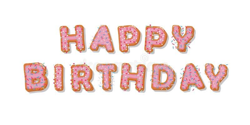 Feliz cumpleaños Letras dibujadas mano de la historieta de la galleta Diseño lindo en colores del rosa en colores pastel stock de ilustración