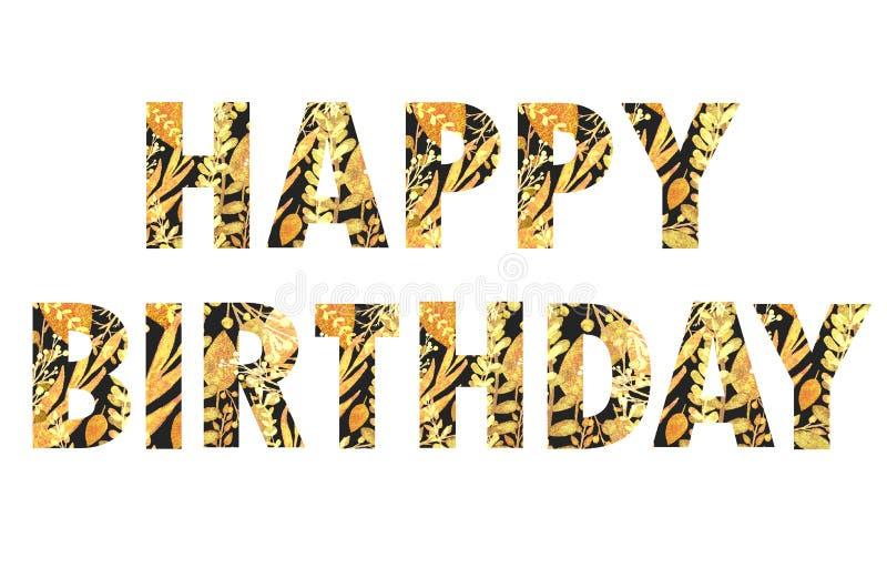 Feliz cumpleaños, letras negras con las hojas de oro ilustración del vector