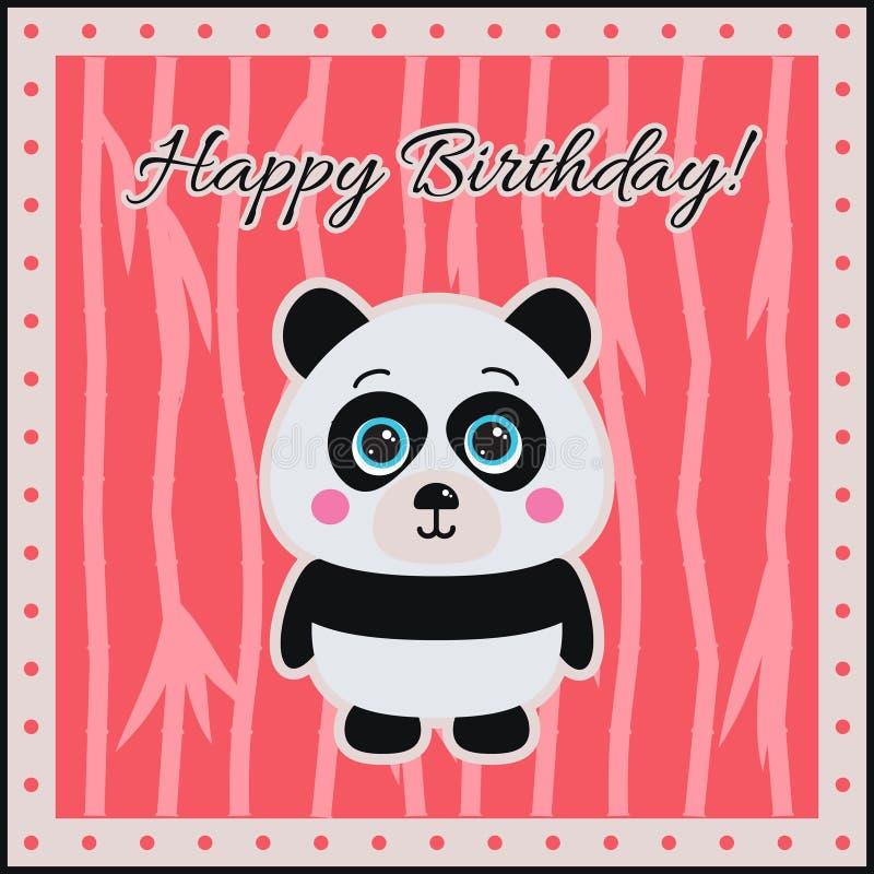 Download ¡Feliz Cumpleaños! Panda En Un Fondo Coralino Ilustración del Vector - Ilustración de mamíferos, niño: 41903739