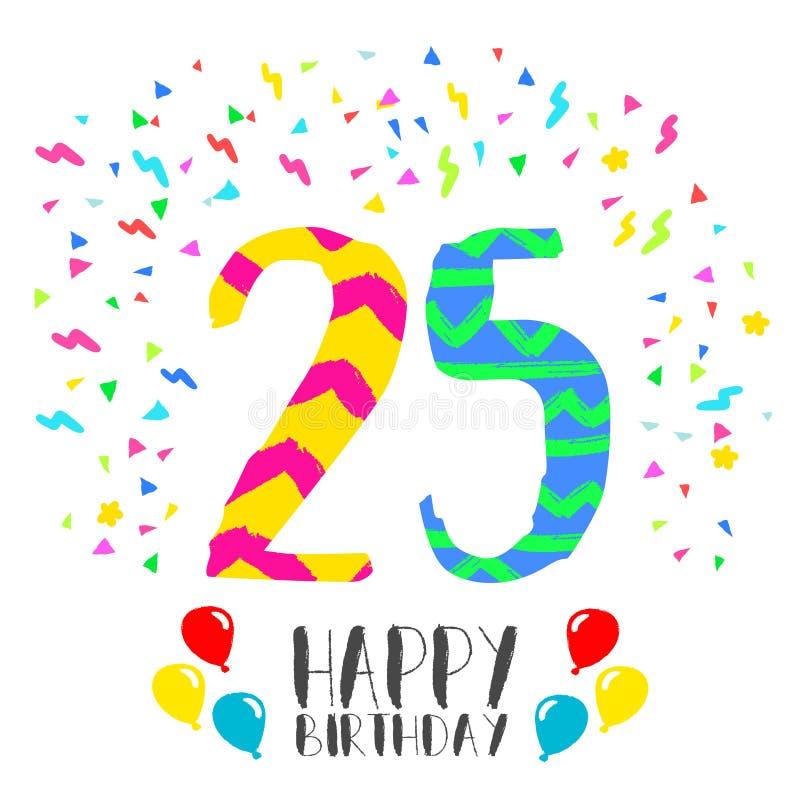 Feliz cumpleaños para la tarjeta de la invitación del partido de 25 años ilustración del vector