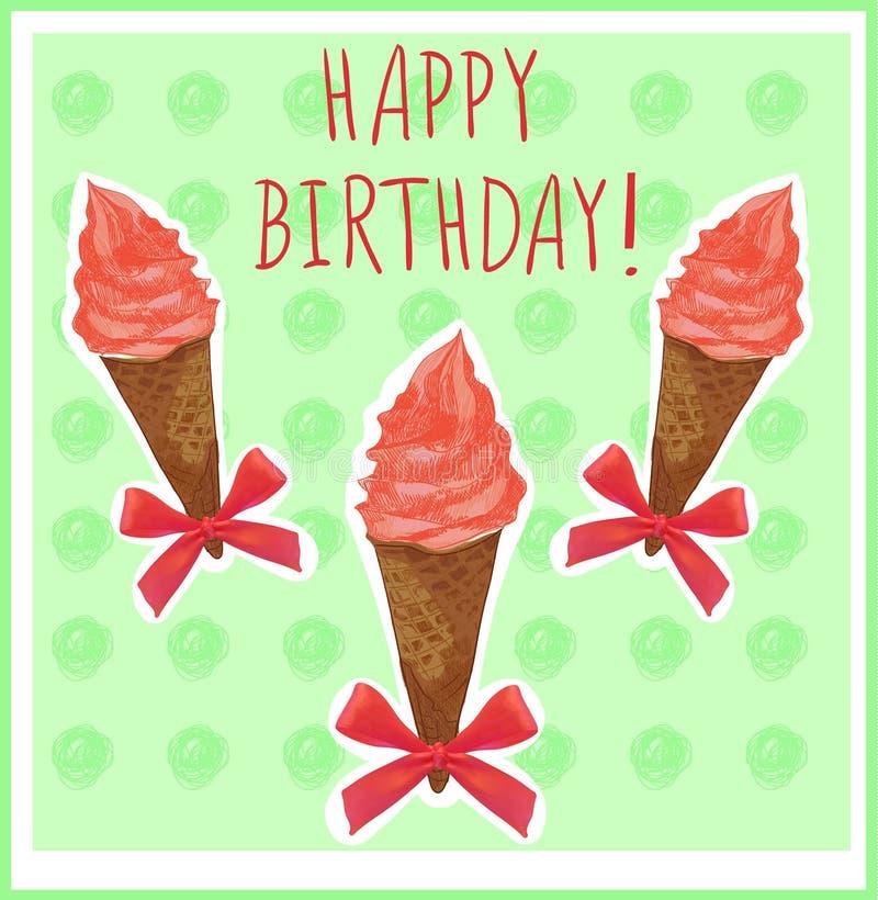 Feliz cumpleaños Plantilla de la tarjeta con el cono de helado mano-bosquejado Crema roja Fondo verde libre illustration
