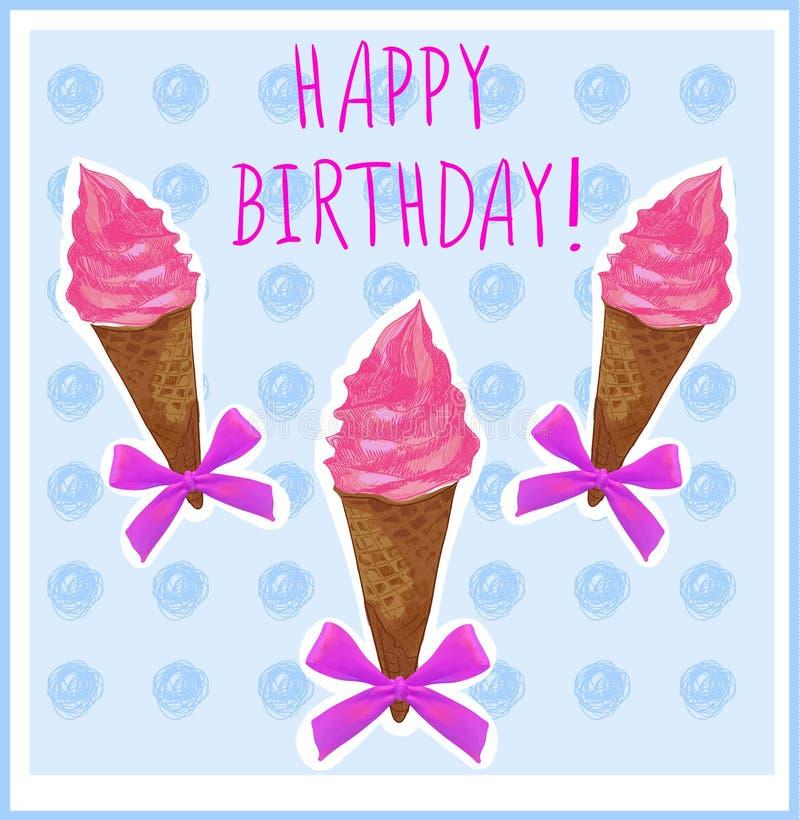 Feliz cumpleaños Plantilla de la tarjeta con el cono de helado mano-bosquejado Crema rosada Fondo azul claro libre illustration