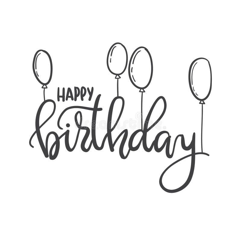 Feliz Cumpleaños Plantilla De La Tipografía De Las Letras De La Mano Para Los Carteles Stock De Ilustración Ilustración De Retro Feliz 87300995