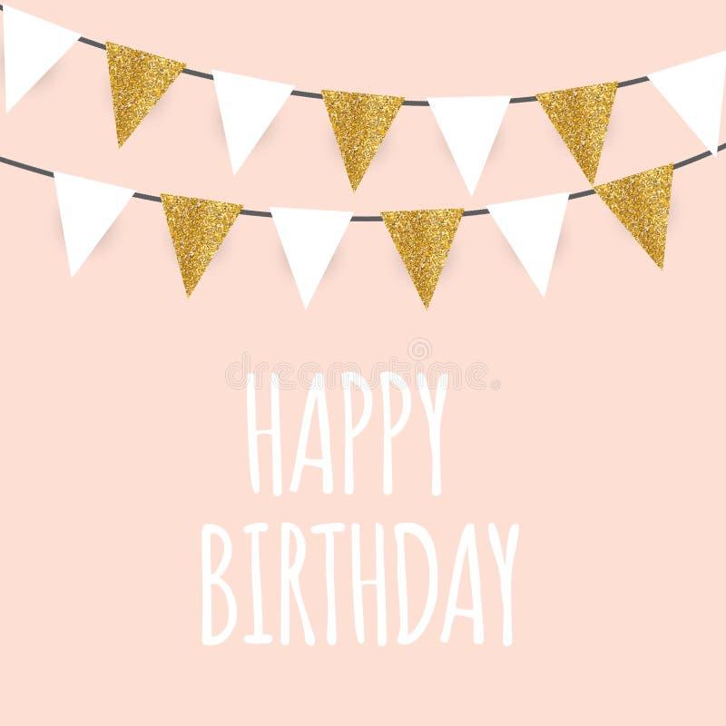 Feliz cumpleaños, saludo del día de fiesta y plantilla de la tarjeta de la invitación con el ejemplo de oro del vector de las ban stock de ilustración