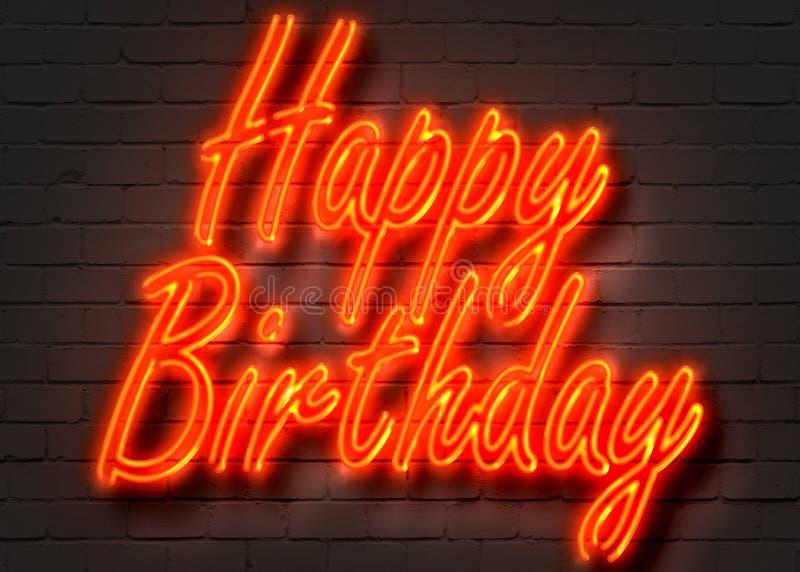 Feliz cumpleaños, señal de neón en la pared de ladrillo ilustración del vector