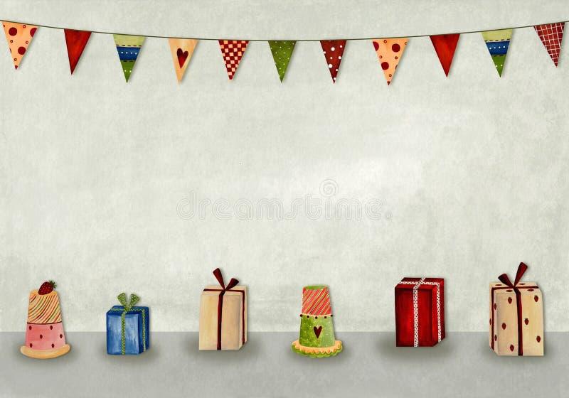 Feliz cumpleaños. Tarjeta de felicitación stock de ilustración