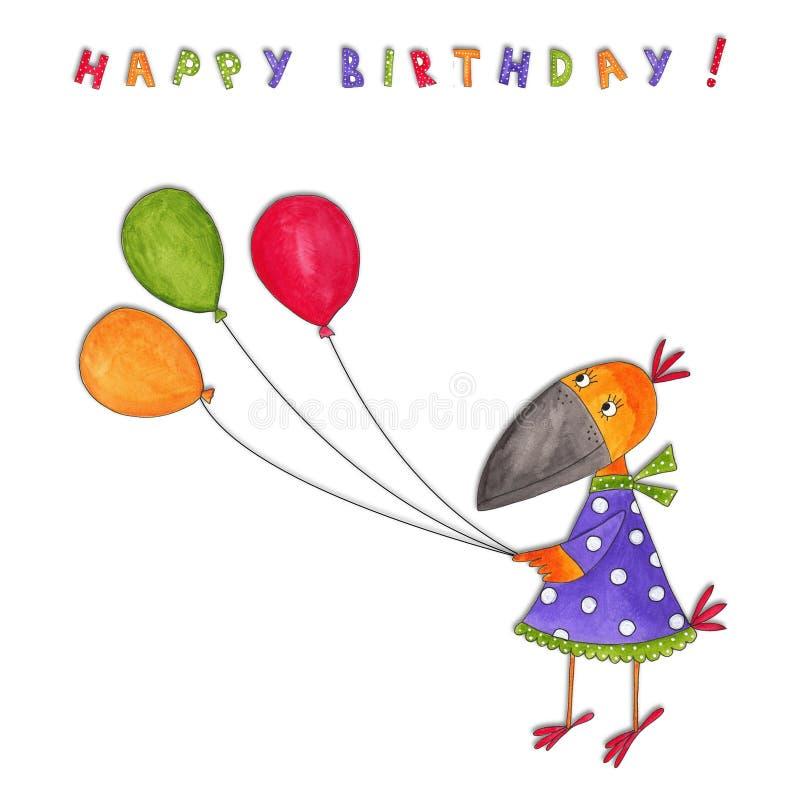 Feliz cumpleaños. Tarjeta de felicitación ilustración del vector