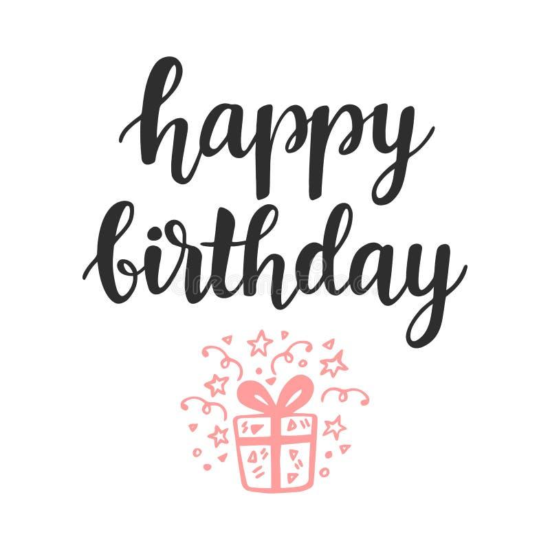 Feliz cumpleaños Tarjeta de felicitación, invitación, cartel stock de ilustración