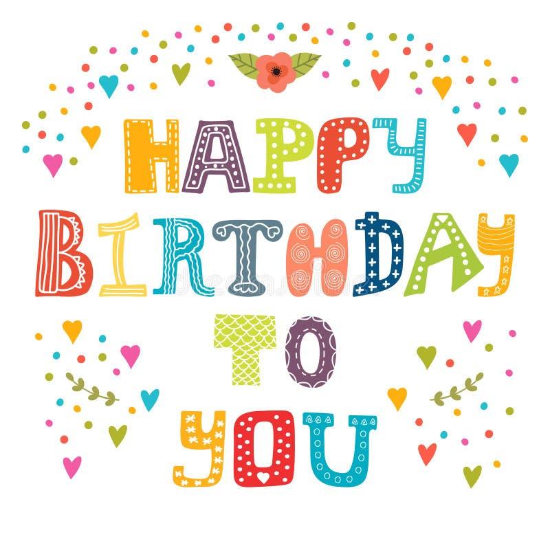 Feliz cumpleaños Tarjeta de felicitación linda ilustración del vector