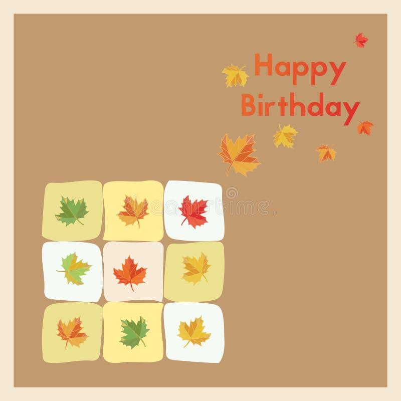 Feliz cumpleaños Tarjeta del nacimiento del saludo en los meses del otoño Hojas de otoño coloreadas multi de la postal stock de ilustración