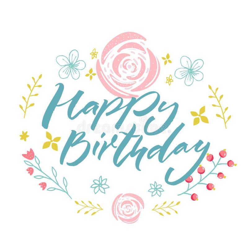 Feliz cumpleaños - texto azul en guirnalda floral con las flores y las ramas rosadas Modelo de la tarjeta de felicitación libre illustration